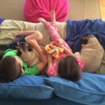 Grandkids and our pugs